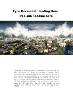 Tsunami Word Template, Cover Page, 10304, Nature & Environment — PoweredTemplate.com