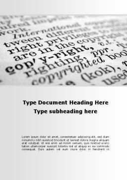 Copyright Word Template, Cover Page, 10310, Legal — PoweredTemplate.com