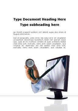 Internet Medicine Word Template, Cover Page, 10333, Medical — PoweredTemplate.com