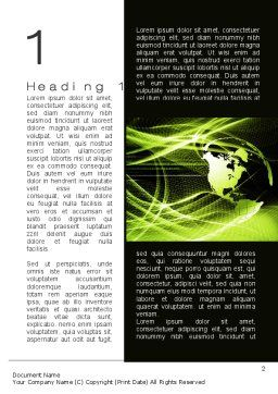 Green Waves Globe Word Template First Inner Page