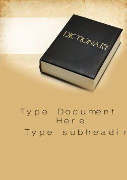 Dictionary Book Word Template, Cover Page, 10350, Education & Training — PoweredTemplate.com