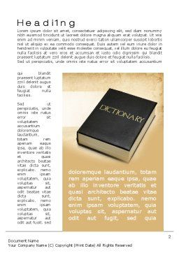 Dictionary Book Word Template, First Inner Page, 10350, Education & Training — PoweredTemplate.com