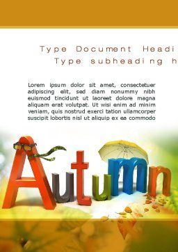 3D Autumn Word Template, Cover Page, 10360, Nature & Environment — PoweredTemplate.com