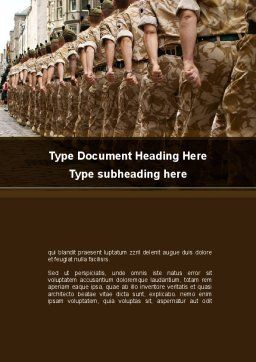 Soldiers March Word Template, Cover Page, 10365, Military — PoweredTemplate.com