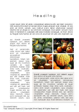 Pumpkin Word Template, First Inner Page, 10366, Agriculture and Animals — PoweredTemplate.com