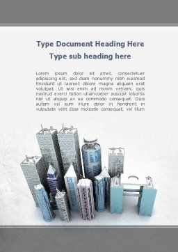Famous Skyscrapers Word Template, Cover Page, 10416, Construction — PoweredTemplate.com