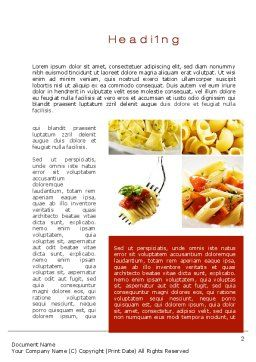 Pasta Recipes Word Template, First Inner Page, 10426, Food & Beverage — PoweredTemplate.com