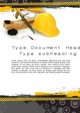 Construction Safety Word Template, Cover Page, 10435, Careers/Industry — PoweredTemplate.com