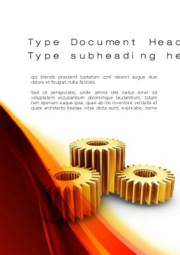 Gear Wheels Word Template, Cover Page, 10440, Utilities/Industrial — PoweredTemplate.com