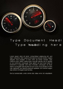 Car Dashboard Word Template, Cover Page, 10486, Cars/Transportation — PoweredTemplate.com