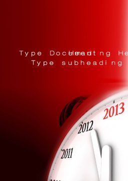 2013 New Year Clock Word Template, Cover Page, 10488, Business Concepts — PoweredTemplate.com