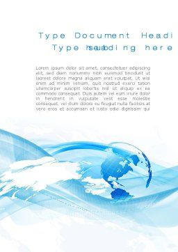 Blue Waves Globe Word Template, Cover Page, 10503, Global — PoweredTemplate.com