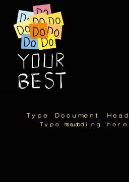 Do Your Best Word Template, Cover Page, 10512, Education & Training — PoweredTemplate.com