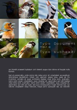 Birds Word Template, Cover Page, 10528, Education & Training — PoweredTemplate.com
