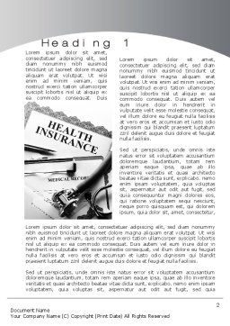 Health Care Insurance Word Template First Inner Page