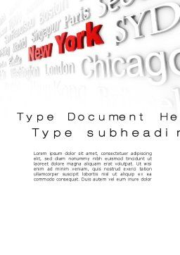 Destination New York Word Template, Cover Page, 10563, Business Concepts — PoweredTemplate.com