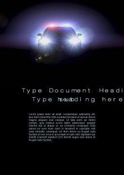 Police Car at Night Word Template 10579 | PoweredTemplate.com