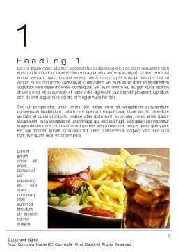 Fast Food Set Word Template First Inner Page