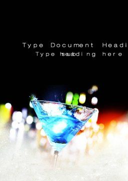 Blue Lagoon Cocktail Word Template, Cover Page, 10591, Food & Beverage — PoweredTemplate.com
