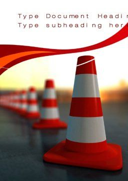 Traffic Pylons Word Template, Cover Page, 10610, Careers/Industry — PoweredTemplate.com