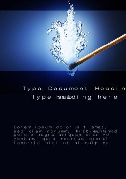 Water Match Word Template, Cover Page, 10615, Business Concepts — PoweredTemplate.com