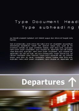 Departures Word Template, Cover Page, 10619, Cars/Transportation — PoweredTemplate.com