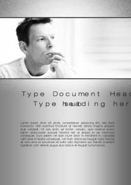 Thinking Man Word Template, Cover Page, 10630, People — PoweredTemplate.com