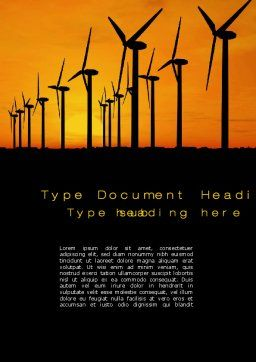 Wind Generators Word Template, Cover Page, 10643, Technology, Science & Computers — PoweredTemplate.com