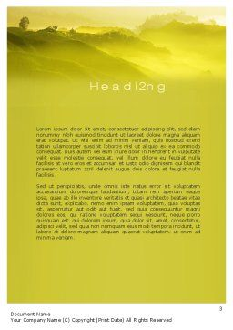 Morning on Tea Plantation Word Template, Second Inner Page, 10644, Agriculture and Animals — PoweredTemplate.com