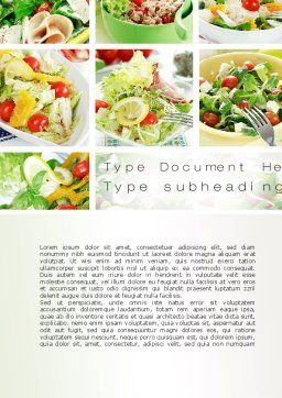 Salad Recipes Word Template, Cover Page, 10648, Food & Beverage — PoweredTemplate.com
