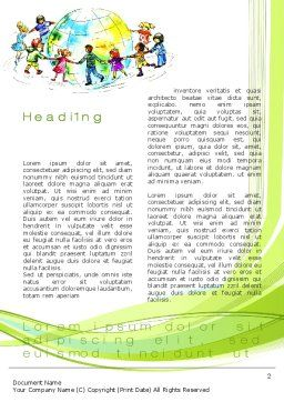 Dance Around the World Word Template, First Inner Page, 10654, Education & Training — PoweredTemplate.com