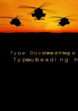 Helicopters at Sunset Word Template, Cover Page, 10662, Military — PoweredTemplate.com
