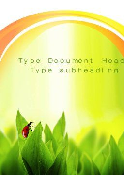 Ladybug on Grass Word Template, Cover Page, 10670, Nature & Environment — PoweredTemplate.com