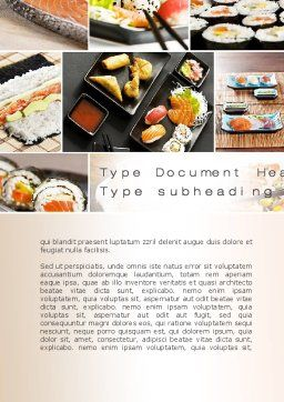 Sushi Collage Word Template, Cover Page, 10675, Food & Beverage — PoweredTemplate.com