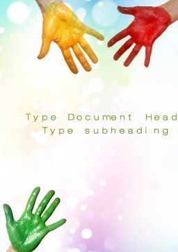 Painted Hands Word Template Cover Page