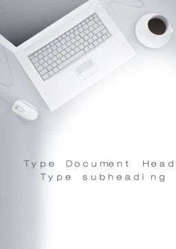 Workplace with Laptop Word Template, Cover Page, 10690, Business — PoweredTemplate.com