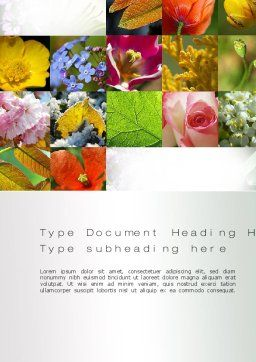 Flowers Collage Word Template, Cover Page, 10706, Nature & Environment — PoweredTemplate.com