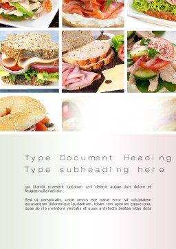 Sandwiches Word Template, Cover Page, 10734, Food & Beverage — PoweredTemplate.com