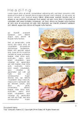 Sandwiches Word Template, First Inner Page, 10734, Food & Beverage — PoweredTemplate.com