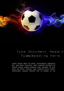 Fire Football Word Template, Cover Page, 10735, Sports — PoweredTemplate.com