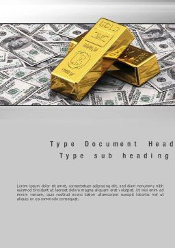 Gold Bars on Dollars Word Template Cover Page