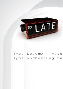 Too Late Clock Word Template, Cover Page, 10767, Business Concepts — PoweredTemplate.com
