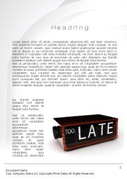 Too Late Clock Word Template, First Inner Page, 10767, Business Concepts — PoweredTemplate.com