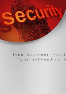 Fingerprint Security Word Template, Cover Page, 10772, Technology, Science & Computers — PoweredTemplate.com