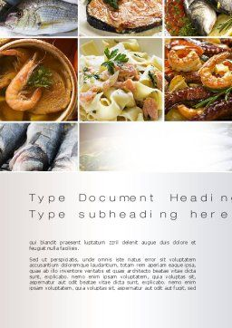 Sea Food Recipes Word Template Cover Page