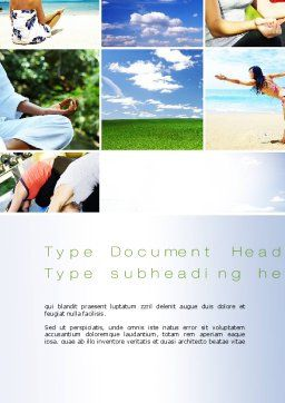 Yoga Collage Word Template, Cover Page, 10790, Sports — PoweredTemplate.com