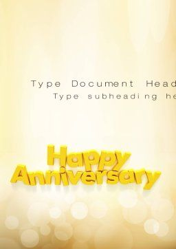 Happy Anniversary in Yellow Word Template, Cover Page, 10799, Holiday/Special Occasion — PoweredTemplate.com