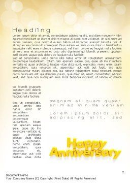 Happy Anniversary in Yellow Word Template, First Inner Page, 10799, Holiday/Special Occasion — PoweredTemplate.com