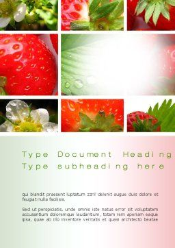 Strawberries Collage Word Template, Cover Page, 10812, Agriculture and Animals — PoweredTemplate.com