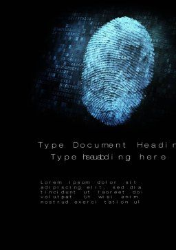 Fingerprint on Digital Screen Word Template, Cover Page, 10814, Technology, Science & Computers — PoweredTemplate.com